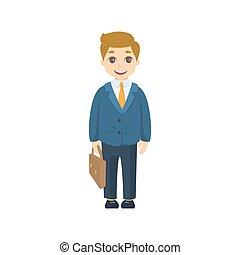 isolato, cartone animato, businessman.