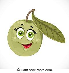 isolato, cartone animato, fondo, oliva, sorridente, bianco