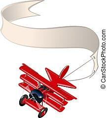 isolato, cartone animato, retro, fondo, bianco, bandiera, aeroplano