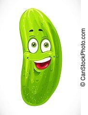 isolato, cartone animato, sfondo verde, cetriolo, bianco, sorridente