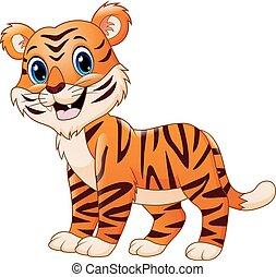 isolato, cartone animato, tiger, fondo, sorridente, bianco