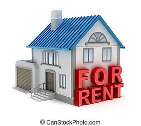 isolato, casa, rent., concetto, 3d