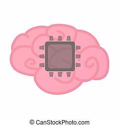 isolato, cervello, con, uno, cpu