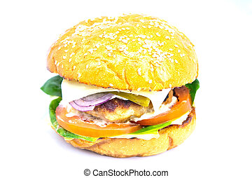 isolato, cheeseburger, fondo., bianco