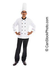 isolato, chef, indiano, fondo, maschio bianco