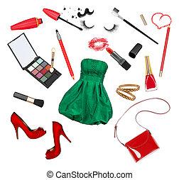 isolato, collezione, accessori, cosmetica, fondo, bianco, celebrazione