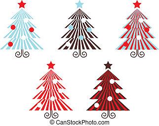 ), (, isolato, collezione, vettore, albero, bianco, strisce, rosso, retro