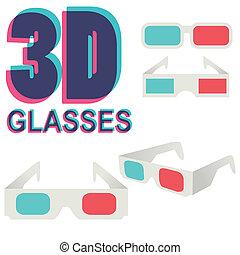isolato, collezione, vettore, bianco, occhiali, 3d