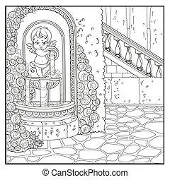 isolato, coloritura, brocca, palazzo, rosa, delineato, parco, cupido, fontana, coloringtlined, angolo, overlaid