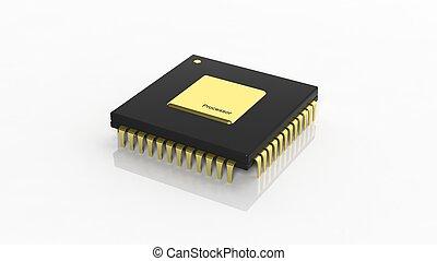 isolato, computer, fondo, bianco, microchip, cpu
