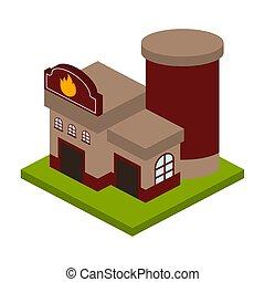 isolato, costruzione, 3d, caserma dei pompieri