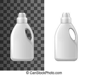 isolato, detersivo, mockup, vettore, bottiglie