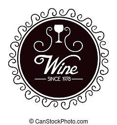 isolato, disegno, sigillo, vino, qualità, icona