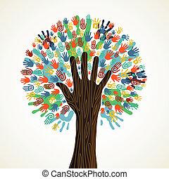 isolato, diversità, albero, mani