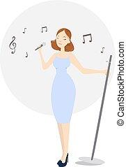 isolato, femmina, singer.