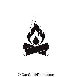 isolato, firewood., nero, bianco, falò, icona
