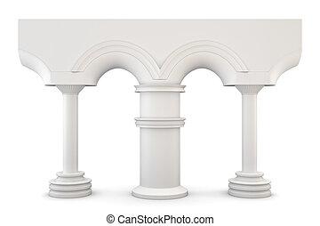 isolato, fondo., 3d., arco, bianco, colonne
