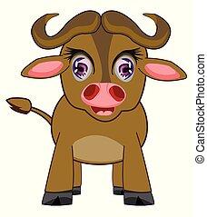 isolato, fondo, animale, bianco, bufalo, cartone animato