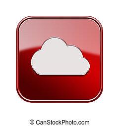 isolato, fondo, bianco, icona, nuvola, rosso