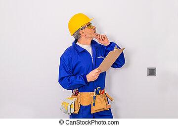 isolato, fondo, costruzione, o, bianco, lavoratore