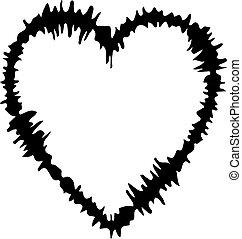 isolato, fondo, icona, cuore, bianco