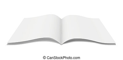 isolato, fondo., quaderno, vuoto, bianco, aperto