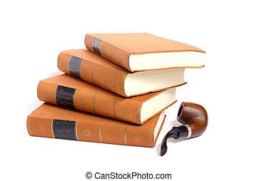 isolato, foto, anticaglia, libri, accatastato