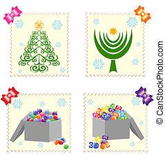 isolato, francobolli, natale bianco