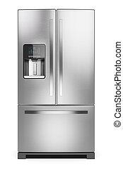 isolato, frigo, refrigerator., fondo, casa, 3d., bianco, argento