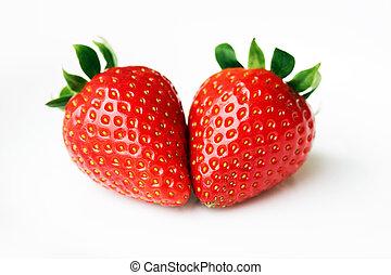 isolato, frutte, -, due, fragole, insieme, bianco, fondo.