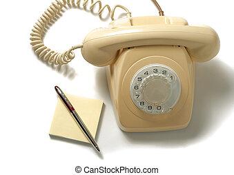 isolato, giallo, telefono, retro, fondo, bianco