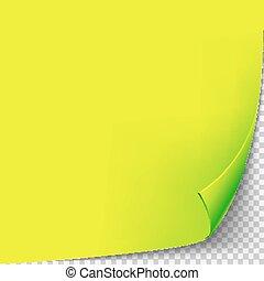 isolato, giallo, template., carta, fondo, angolo, riccio, grid., trasparente, vuoto, pagina