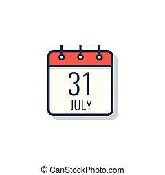 Calendario 31 Luglio.31 Luglio Calendario Icona 31 Grigio Fondo Calendario
