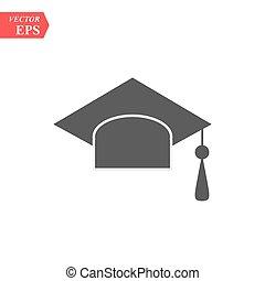isolato, graduazione, vettore, fondo, cappello bianco, icona