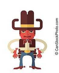 isolato, guns., vettore, cowboy, bianco