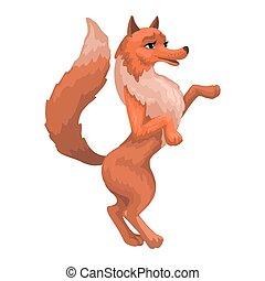 isolato, illustration., cartone animato, animal., volpe, femmina, relativo, standing, vettore, paws.