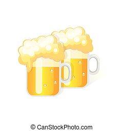 isolato, illustrazione, birra, vettore, vetro., fondo, bianco