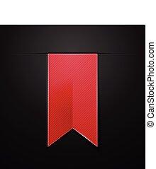 isolato, illustrazione, fondo., vettore, nero, bookmarks, rosso