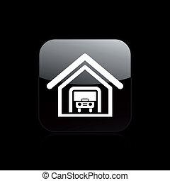 isolato, illustrazione, garage, singolo, vettore, icona