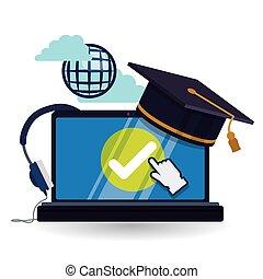 isolato, illustrazione, icon., educazione, e-imparando, design.