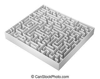 isolato, illustrazione, interpretazione, fondo, labirinto, bianco, 3d