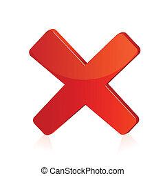 isolato, illustrazione, segno, fondo, croce, rosso