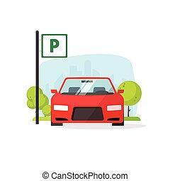 isolato, illustrazione, segno, vettore, lotto, parcheggio, ...
