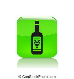isolato, illustrazione, singolo, vettore, bottiglia, vino, icona