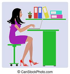 isolato, illustrazione, singolo, vettore, icona, segretario