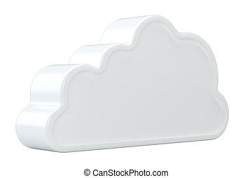 isolato, interpretazione, fondo, bianco, icon., nuvola, 3d