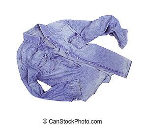 isolato, jean, camicia bianca