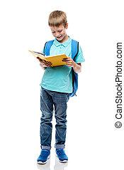 isolato, libro, fondo, ritratto, bianco, lettura, studio, scolaro