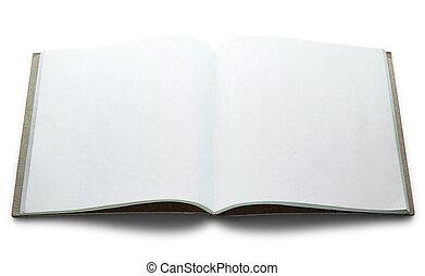 isolato, libro, fondo, vuoto, bianco, aperto