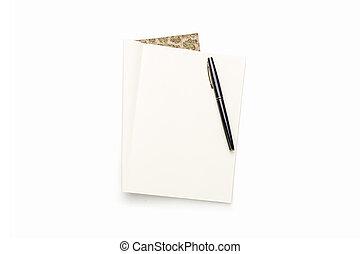 isolato, libro, nero, vuoto, bianco, penna, aperto